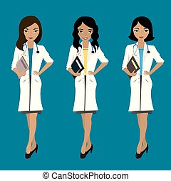 Set of three cute female doctors, asian and european races