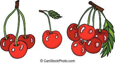 Set of three cute red cherries