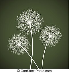 set of three dandelions