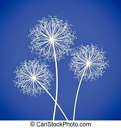 set of three dandelions