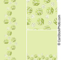 Set of three dice seamless pattern background