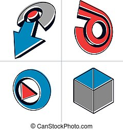 Set of three-dimensional abstract icons, play sign, special arrow. 3d vector push button, multimedia arrow symbol isolated on white background. Collection of graphic elements.
