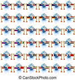 Set of three-dimensional image of the flags of world