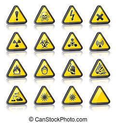 Set of three dimensional Warning