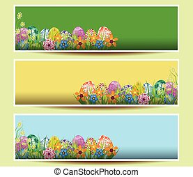 set of three Easter banners