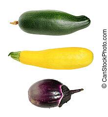 set of three eggplant