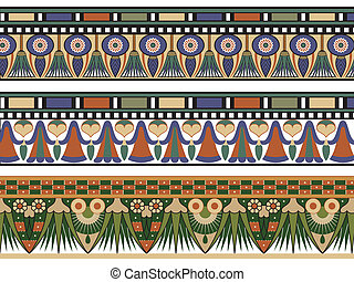 Set of three Egyptian border, vector illustration
