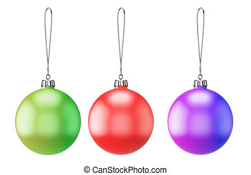 Set of three empty Christmas balls of different colors