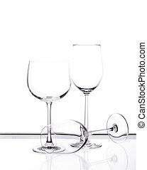 Set of three empty wine glasses