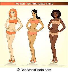 Set of three fashion girls, vector illustrations.