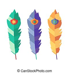 Set of three flat colorful feathers