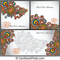 set of three flower background design, ukrainian traditional...
