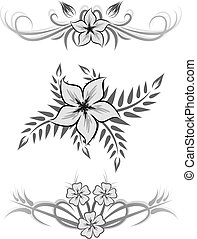 Set of three flowers.