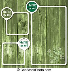 Set of three frames for any text and the words healthy raw food