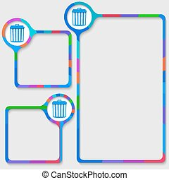 set of three frames for your text and trashcan