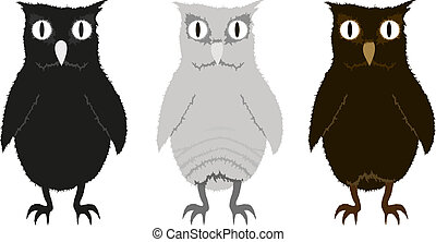 Set of three funny owlets. Eps 10