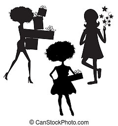 set of three girls silhouettes at birthday party isolated on white background