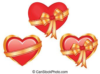 Set of three glossy hearts