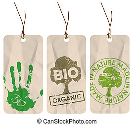 grunge tags for organic / bio / eco - Set of three grunge ...