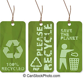 grunge tags for recycling - Set of three grunge tags for...