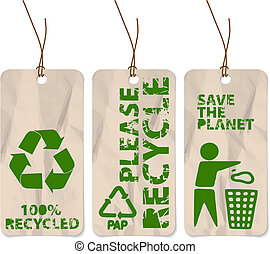 Set of three grunge tags for recycling