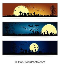 Set of three Halloween banners.