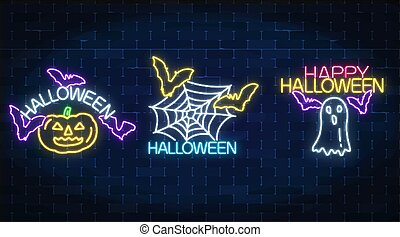 Set of three halloween illustrations in neon style. Glowing neon pumpkin, bats, chost silhouette and spyder web