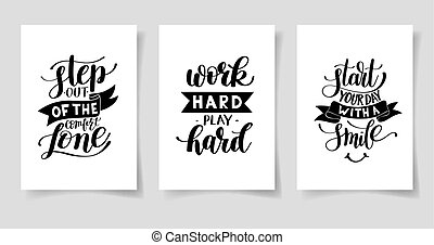 set of three hand written lettering positive inspirational quote