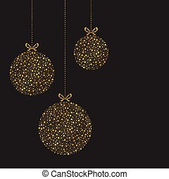 Set of three hanging Christmas ornaments. Vector illustration. Greeting card with gold christmas ornaments drawing by dots.