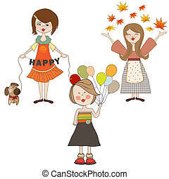 set of three happy girls, isolated on white background