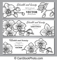 Set of three horizontal banners with beautiful orchid flowers