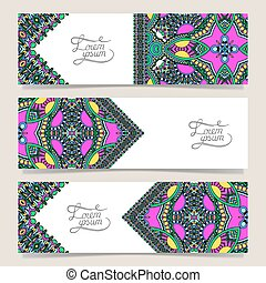 Set of three horizontal banners with decorative ornamental...