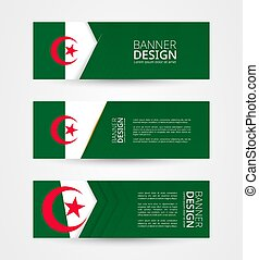Set of three horizontal banners with flag of Algeria. Web banner design template in color of Algeria flag.