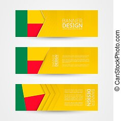 Set of three horizontal banners with flag of Benin. Web banner design template in color of Benin flag.