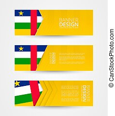 Set of three horizontal banners with flag of Central African Republic. Web banner design template in color of CAR flag.