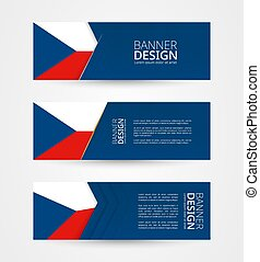 Set of three horizontal banners with flag of Czech Republic. Web banner design template in color of Czech Republic flag.