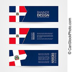 Set of three horizontal banners with flag of Dominican Republic. Web banner design template in color of Dominican Republic flag.