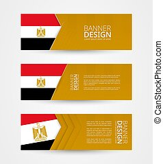 Set of three horizontal banners with flag of Egypt. Web banner design template in color of Egypt flag.