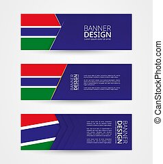 Set of three horizontal banners with flag of Gambia. Web banner design template in color of Gambia flag.