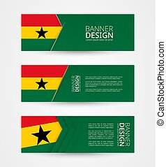 Set of three horizontal banners with flag of Ghana. Web banner design template in color of Ghana flag.