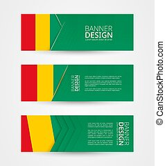 Set of three horizontal banners with flag of Guinea. Web banner design template in color of Guinea flag.