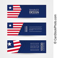 Set of three horizontal banners with flag of Liberia. Web banner design template in color of Liberia flag.