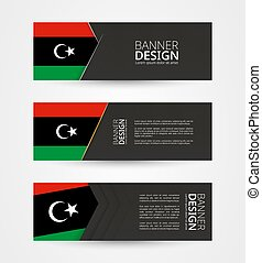 Set of three horizontal banners with flag of Libya. Web banner design template in color of Libya flag.