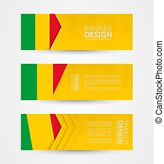 Set of three horizontal banners with flag of Mali. Web banner design template in color of Mali flag.
