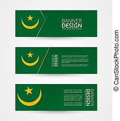 Set of three horizontal banners with flag of Mauritania. Web banner design template in color of Mauritania flag.