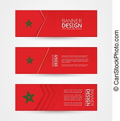 Set of three horizontal banners with flag of Morocco. Web banner design template in color of Morocco flag.