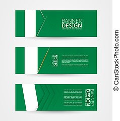 Set of three horizontal banners with flag of Nigeria. Web banner design template in color of Nigeria flag.