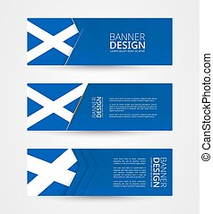 Set of three horizontal banners with flag of Scotland. Web banner design template in color of Scotland flag.