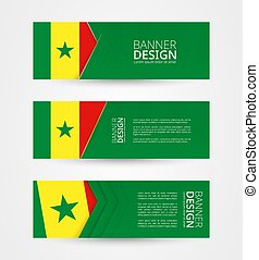 Set of three horizontal banners with flag of Senegal. Web banner design template in color of Senegal flag.