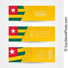 Set of three horizontal banners with flag of Togo. Web banner design template in color of Togo flag.
